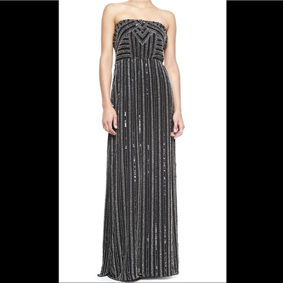 7e17231ecf Parker Black Lovey Strapless Beaded Maxi Gown